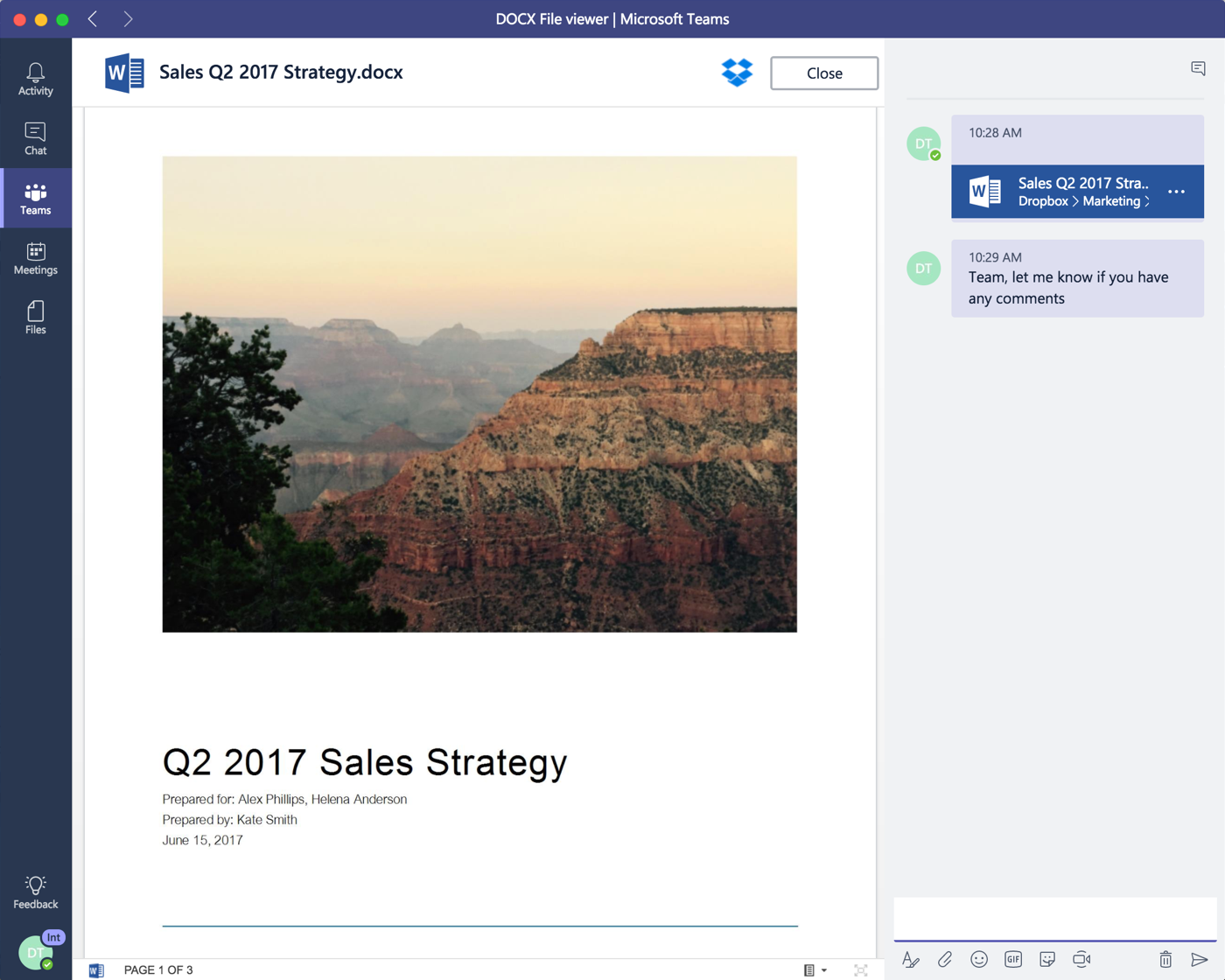 Screenshot showing Microsoft Teams integration with Dropbox