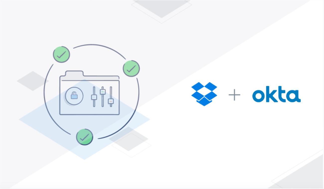Illustration for Dropbox and Okta integration story