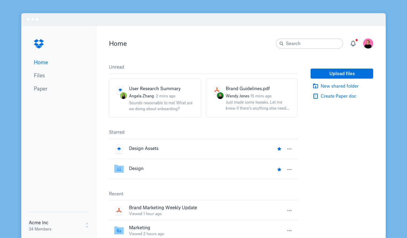 Screenshot showing web view of new Dropbox homepage