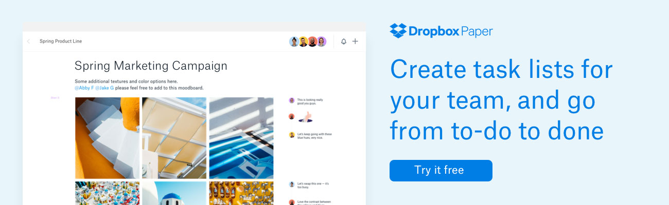 Dropbox Paper: Create task lists for your team, and go from to-do to done | Try it free