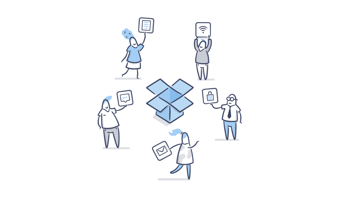 Illustration of teamwork with Dropbox