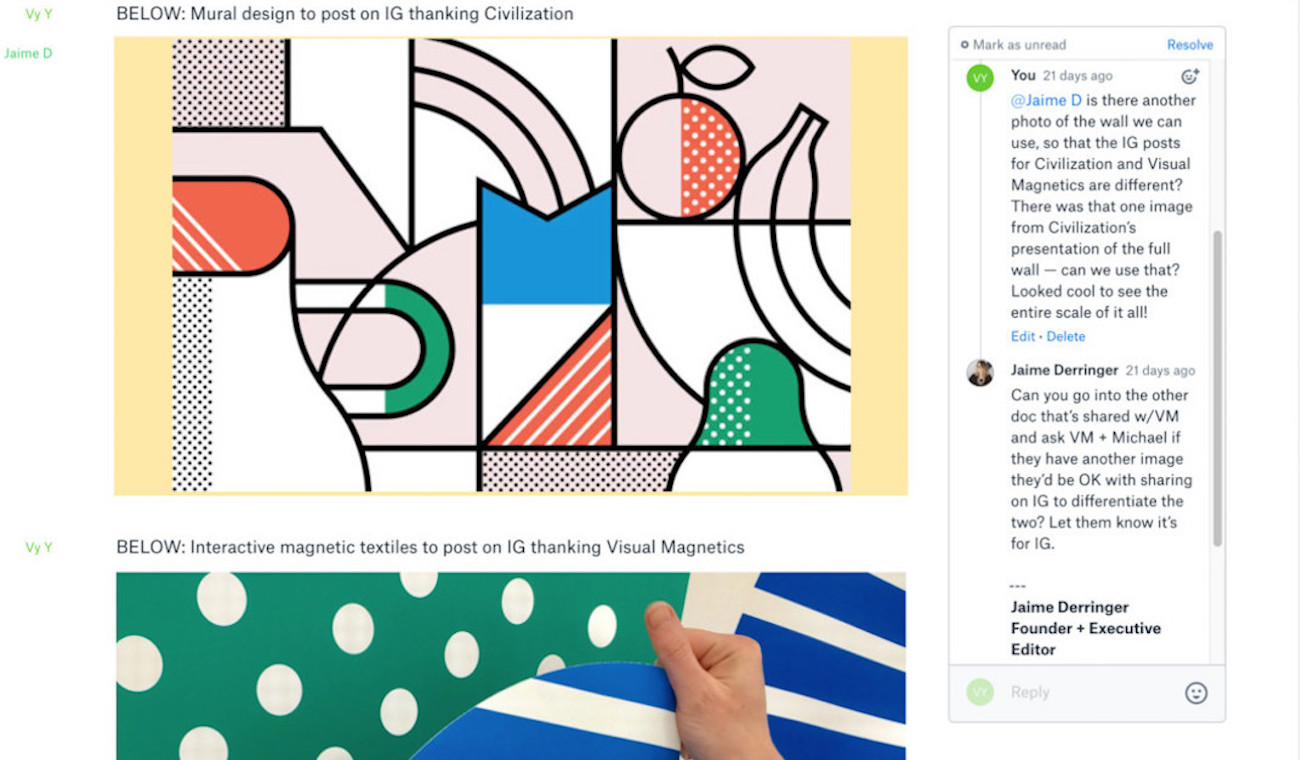 Screenshot showing Design Milk illustration in Dropbox Paper