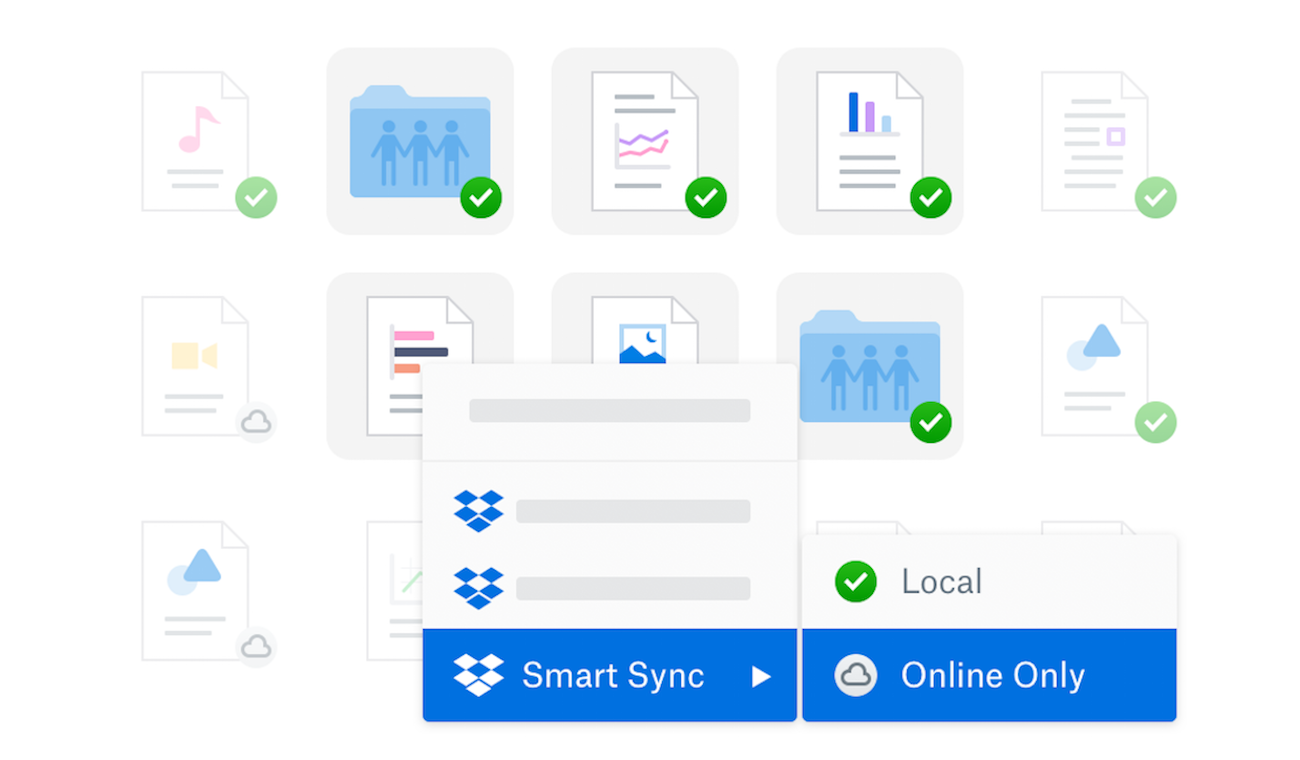 Screenshot showing Dropbox Smart Sync