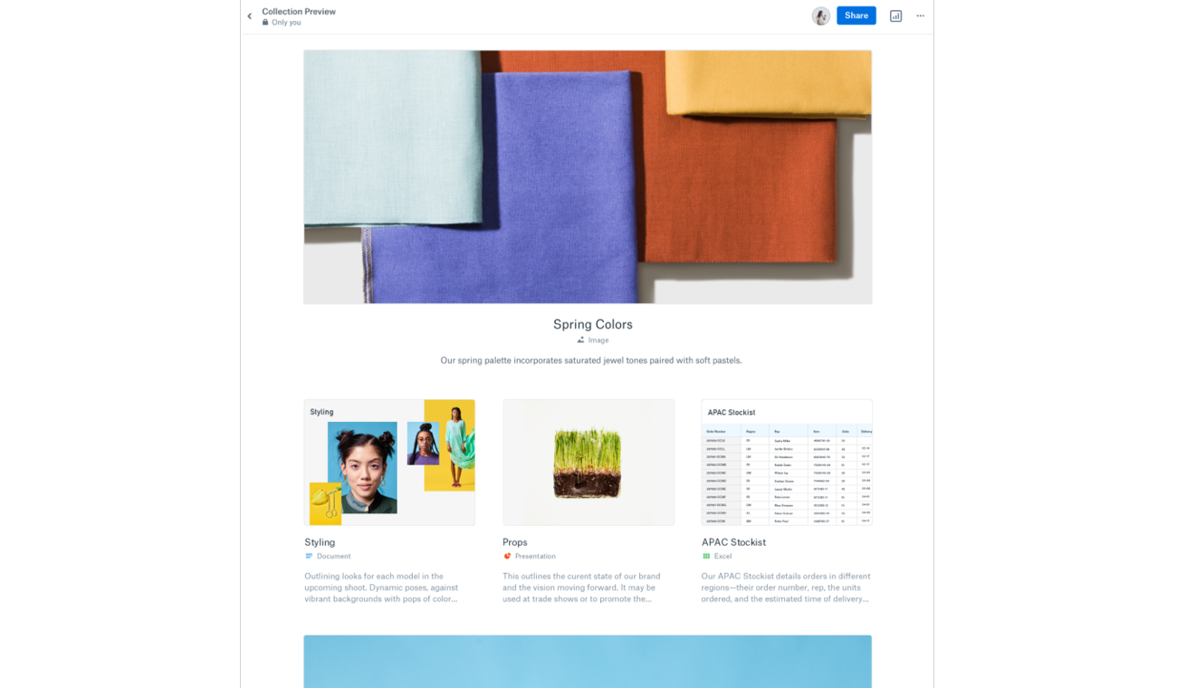 A showcase featuring spring color designs