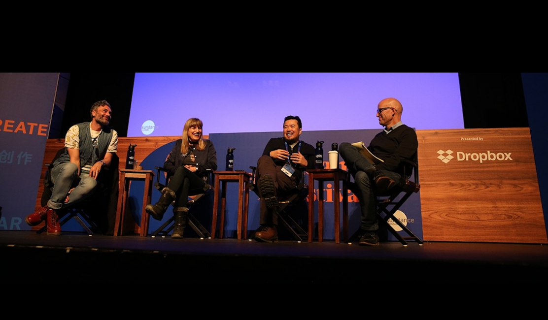 Justin Lin, Catherine Hardwicke, and Taika Waititi with moderator John Horn