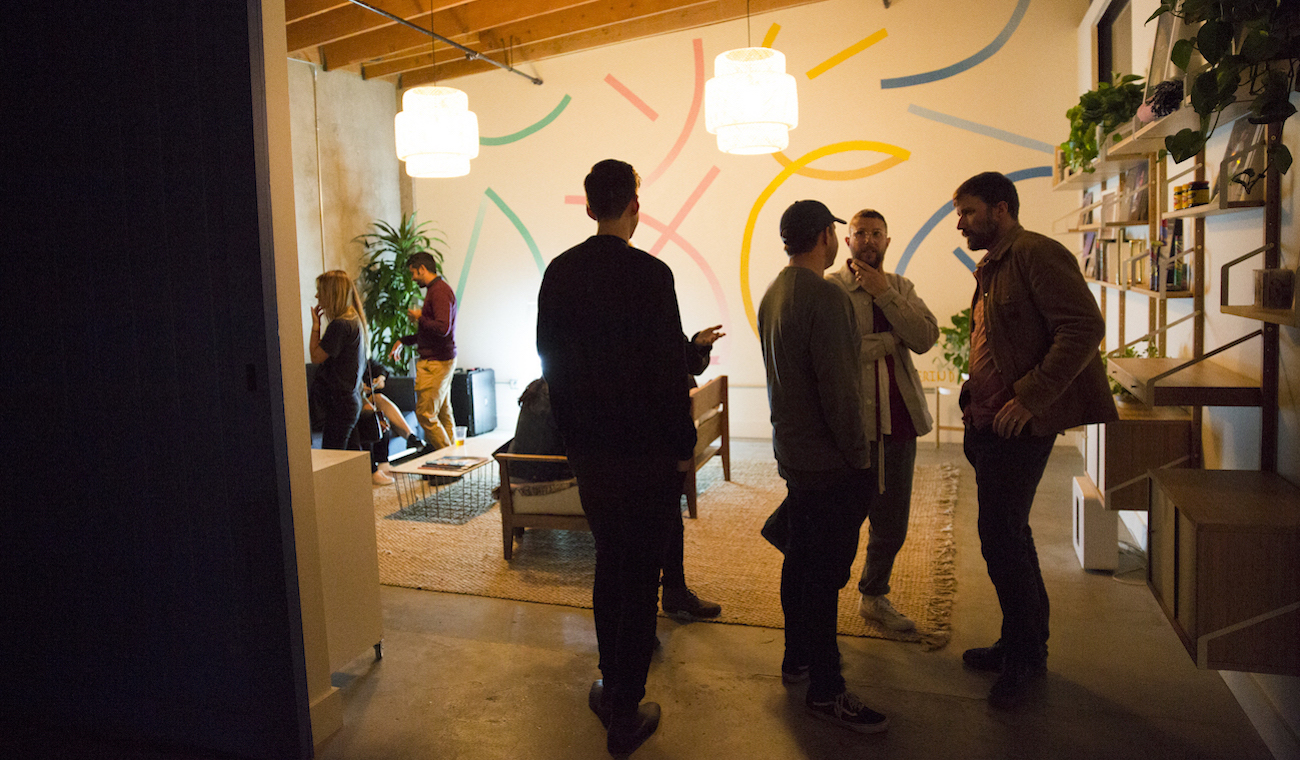 Photo of guests exploring the space at the Future Classic x Dropbox Studio