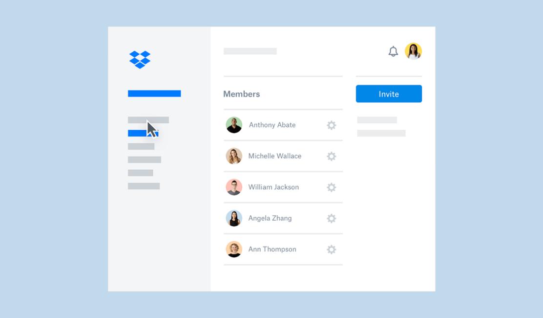 Screenshot of Dropbox Business admin console showing list of team members