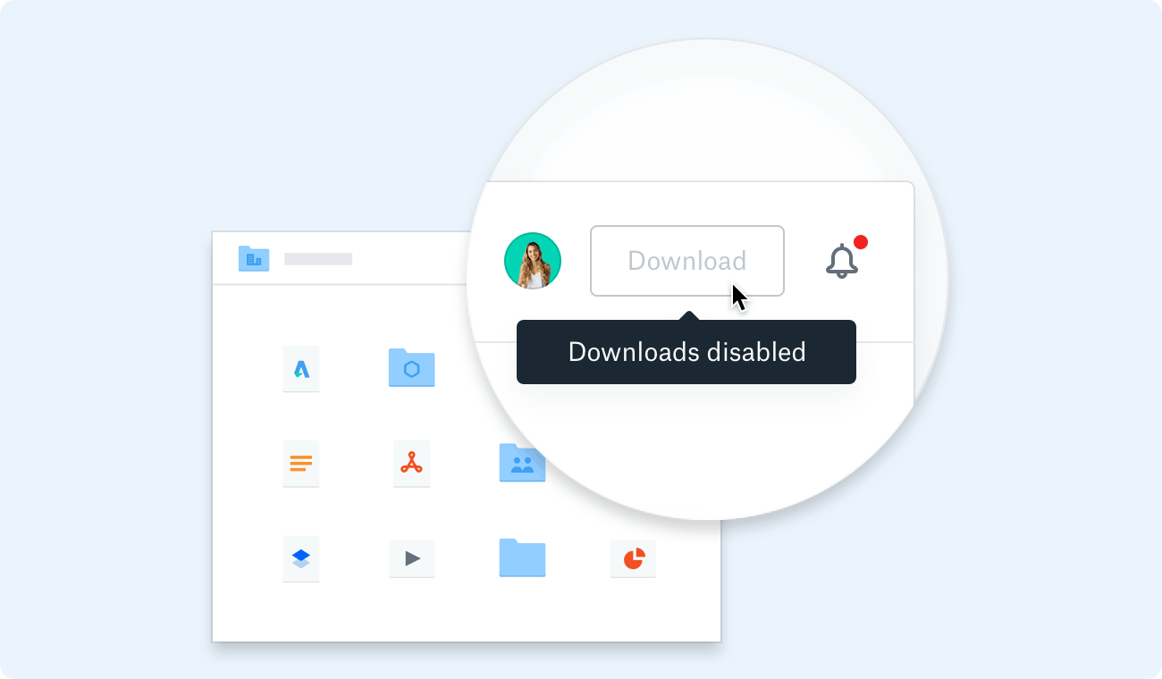 "Screenshot of dropbox.com showing grayed out Download button and ""Downloads disabled"" pop-up"