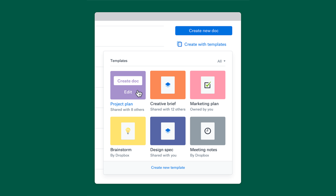 Screenshot of template selection box in Dropbox Paper
