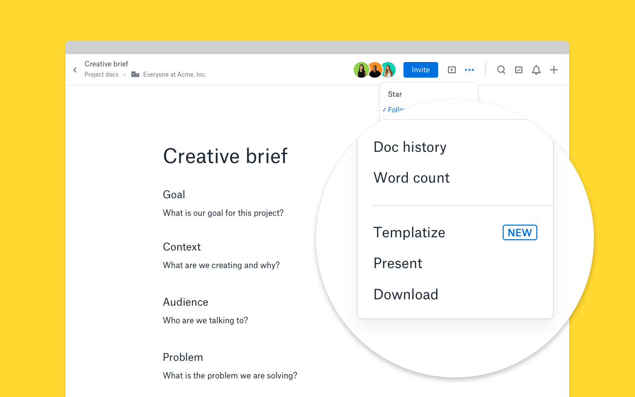 Screenshot of three-dot menu in Dropbox Paper, with the Templatize item shown