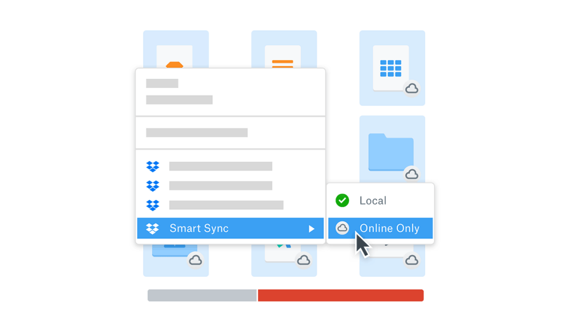 Illustration showing Dropbox Smart Sync