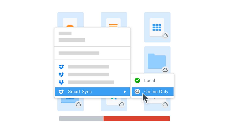 Illustration showing Dropbox Smart Sync