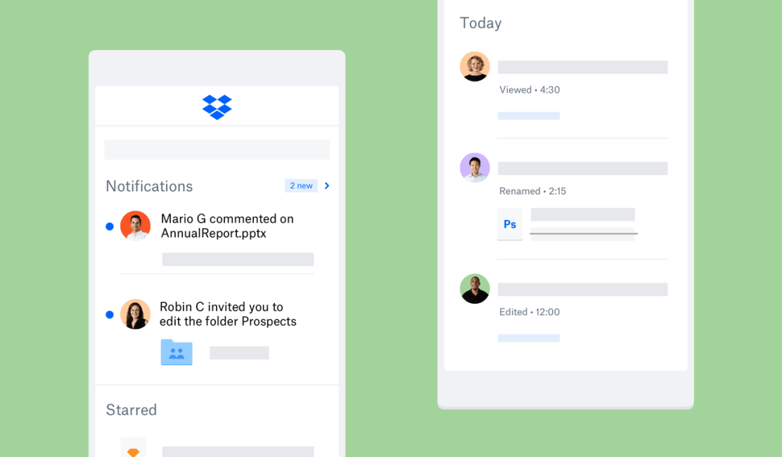 Screenshot of Dropbox mobile app showing Notifications and Today views