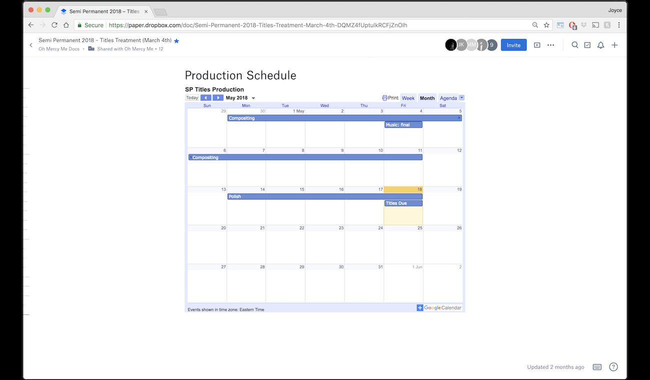 Joyce embeds a calendar in Dropbox Paper
