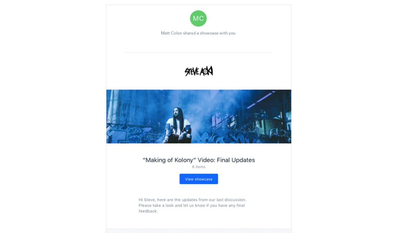 Screenshot of Steve Aoki's Dropbox Showcase