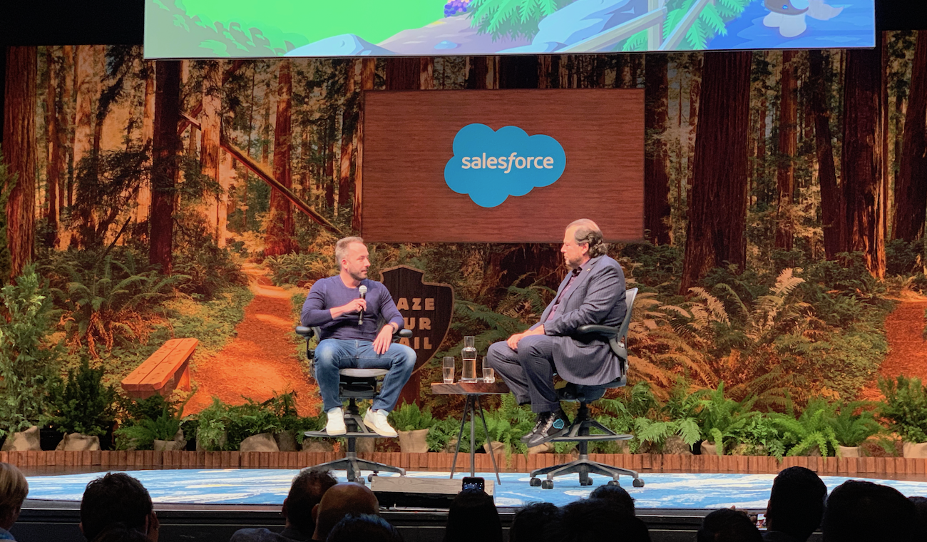 Drew Houston and Marc Benioff at Dreamforce 2018