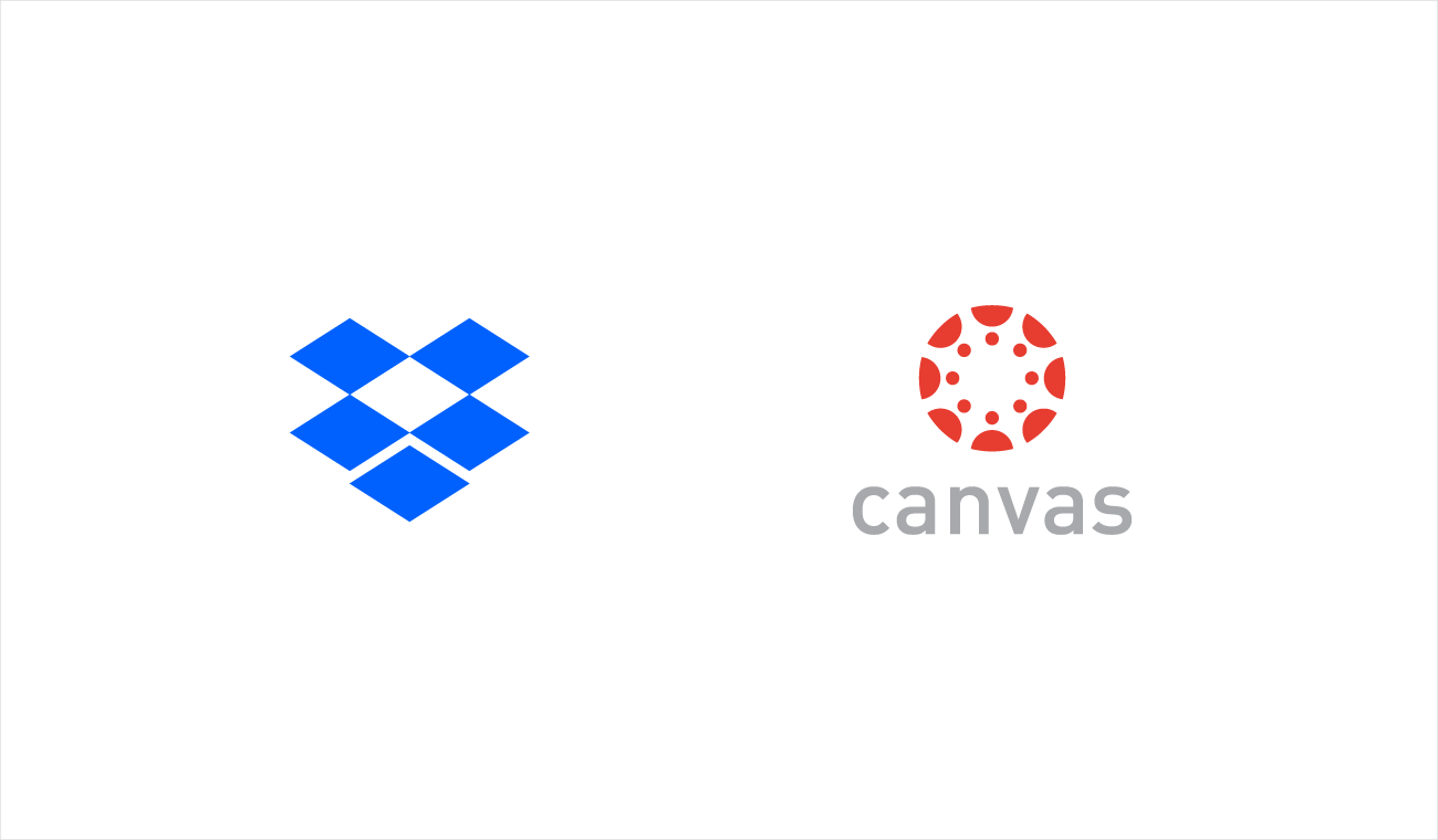 Dropbox and Canvas logos