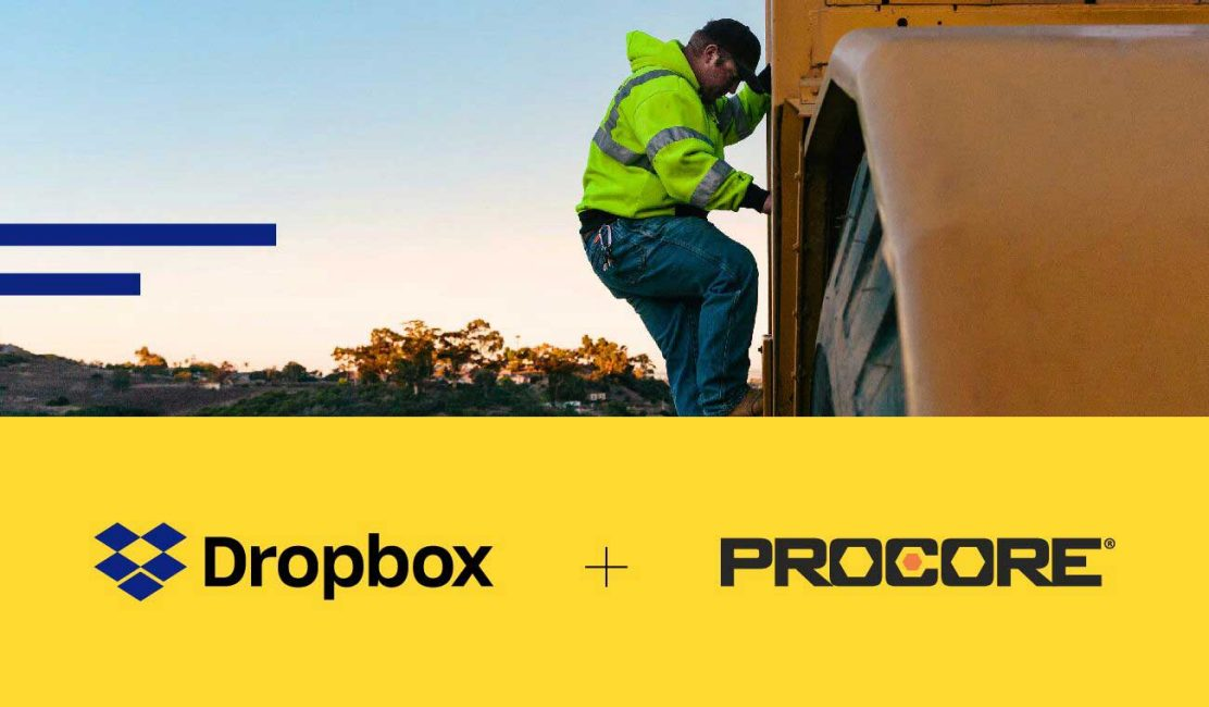 Image of a construction worker above the Dropbox and Procore logos