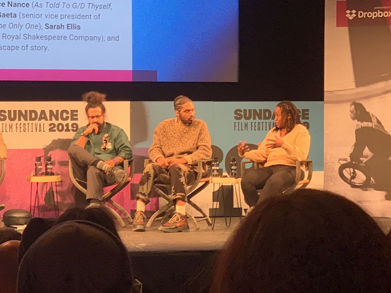 Photo of Reggie Watts, Terence Nance, and Stephanie Dinkins by Ben Taylor