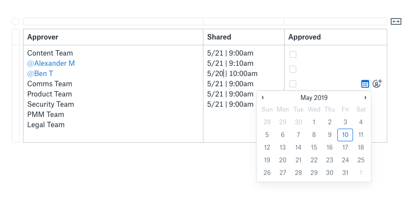 Screenshot showing task assignment feature in Dropbox Paper