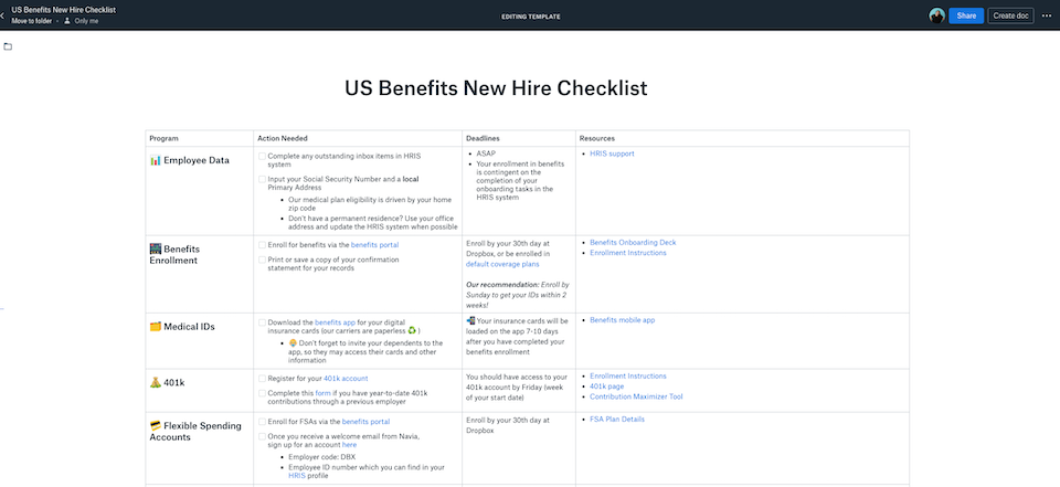 Screenshot showing Benefits checklist in Dropbox Paper