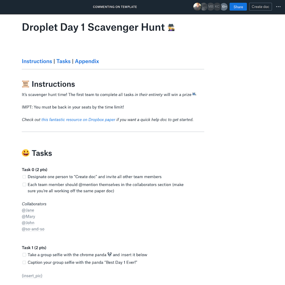 Screenshot showing the new hire scavenger hunt in a Dropbox Paper doc