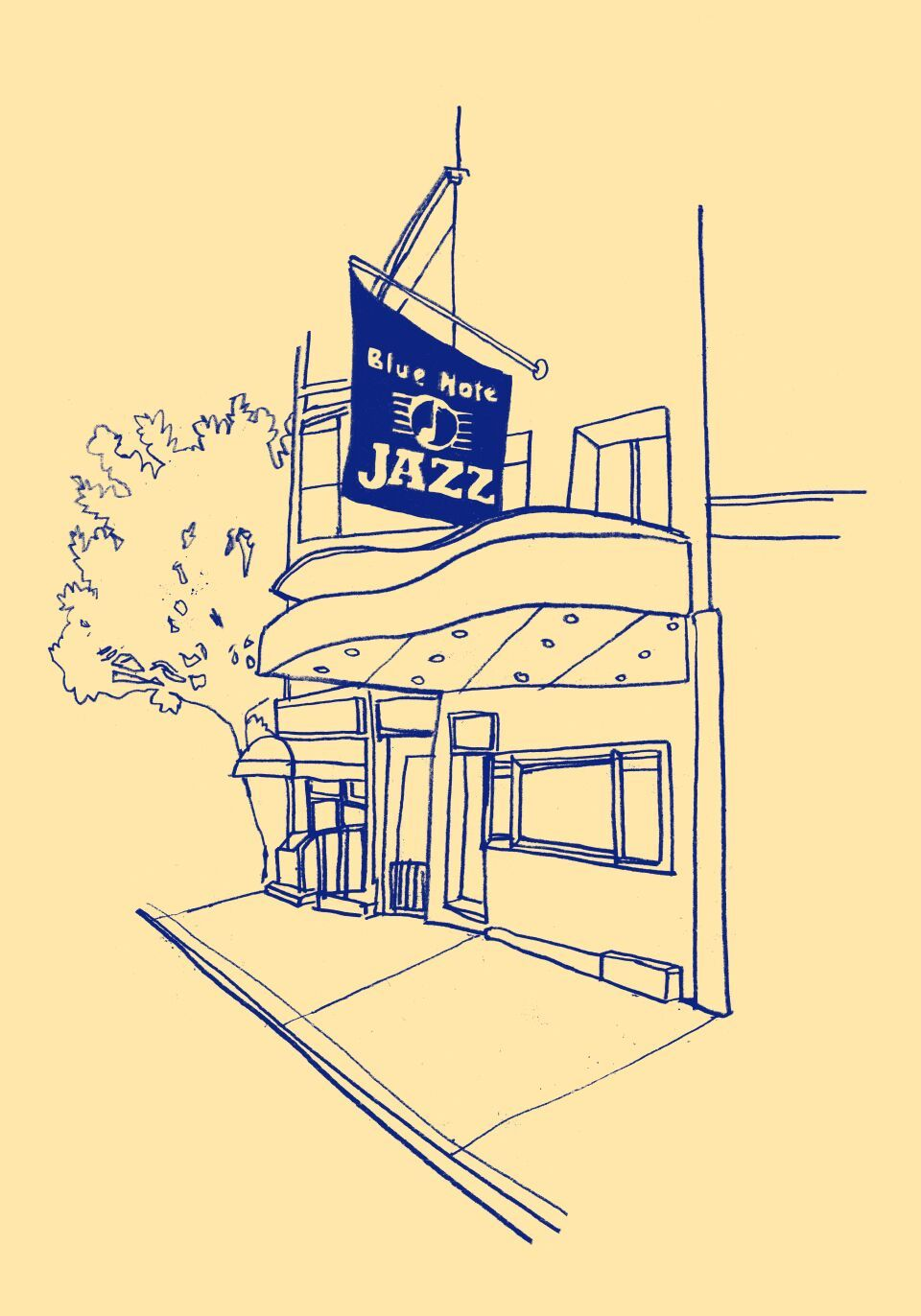 Illustration of Blue Note jazz club by Fanny Luor