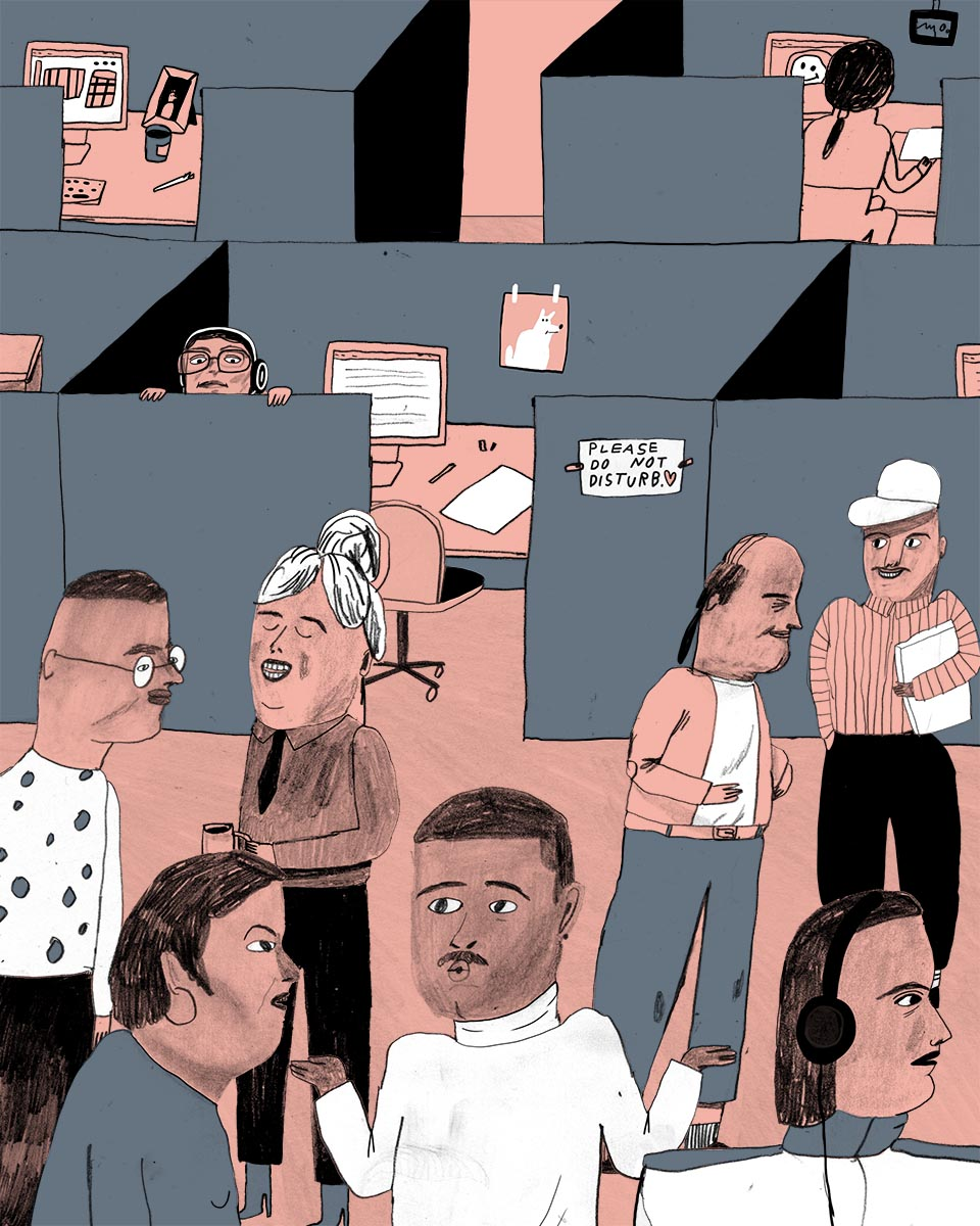 Illustration of workers in an open office by Skinkeape