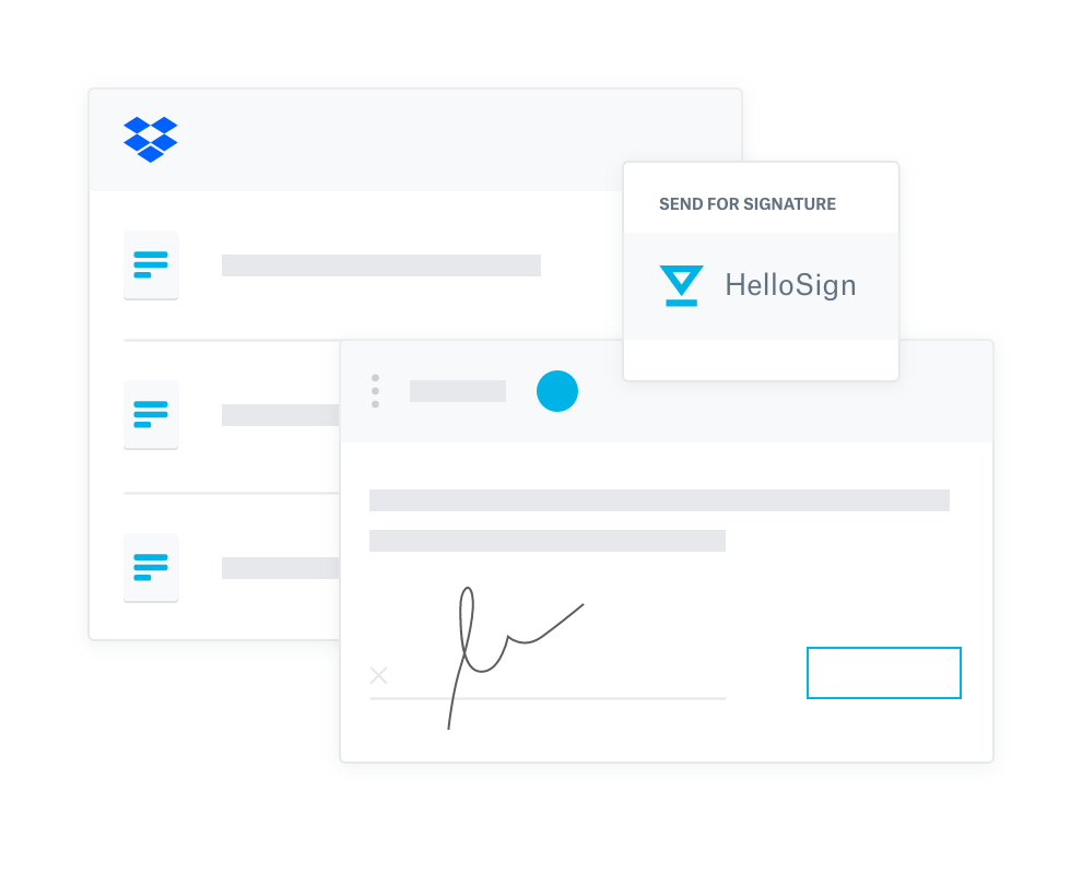 Illustration showing Dropbox and HelloSign interfaces