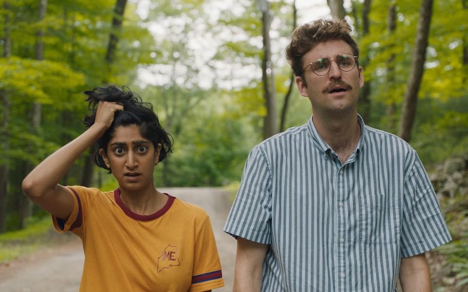 Sunita Mani and John Reynolds in Save Yourselves! (Photo by Matt Clegg)