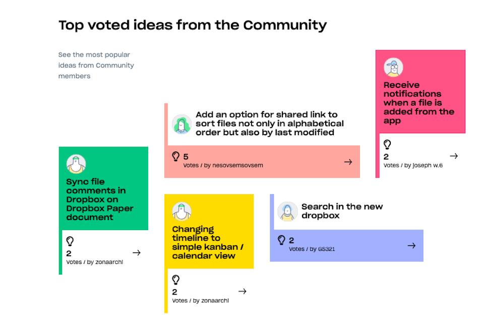 Screenshot from the newly redesigned dropboxforum.com