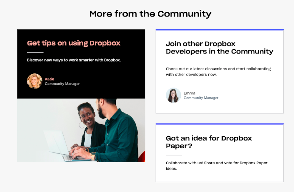 Screenshot from the newly redesigned dropboxforum.com