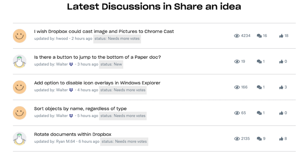 Screenshot of discussion threads on Dropbox Community