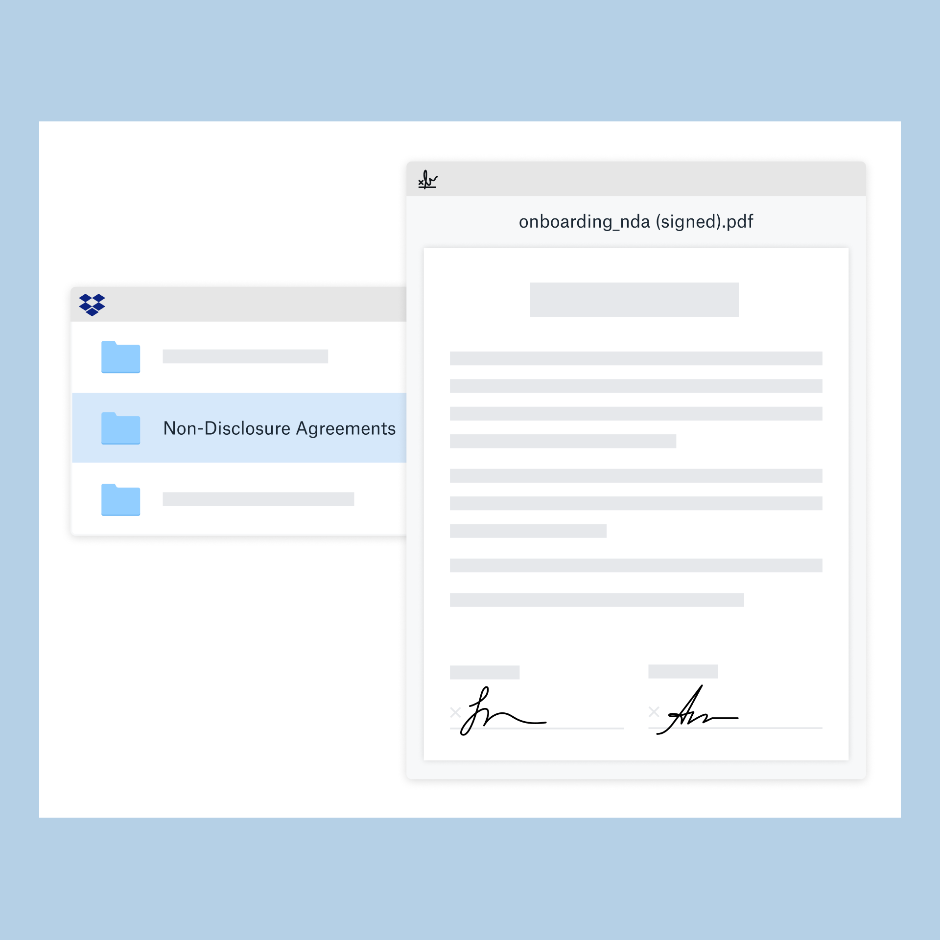 Screenshot showing HelloSign solution within Dropbox