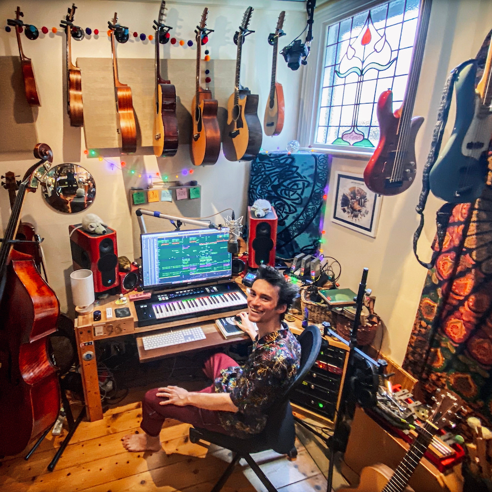 Photo of Jacob Collier at his home studio in London