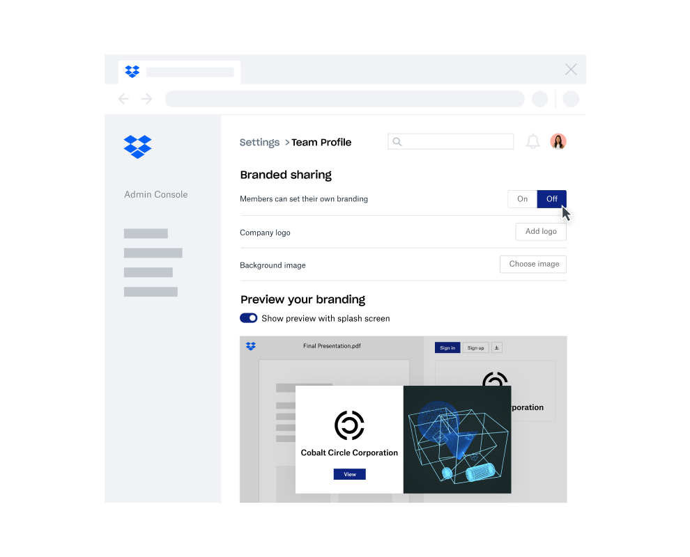 Animation showing the Branded Sharing feature in Dropbox