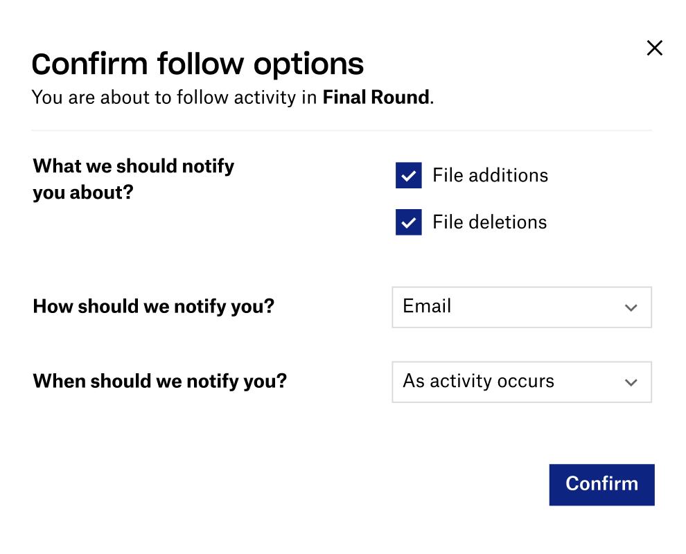 Screenshot of Follow feature in Dropbox