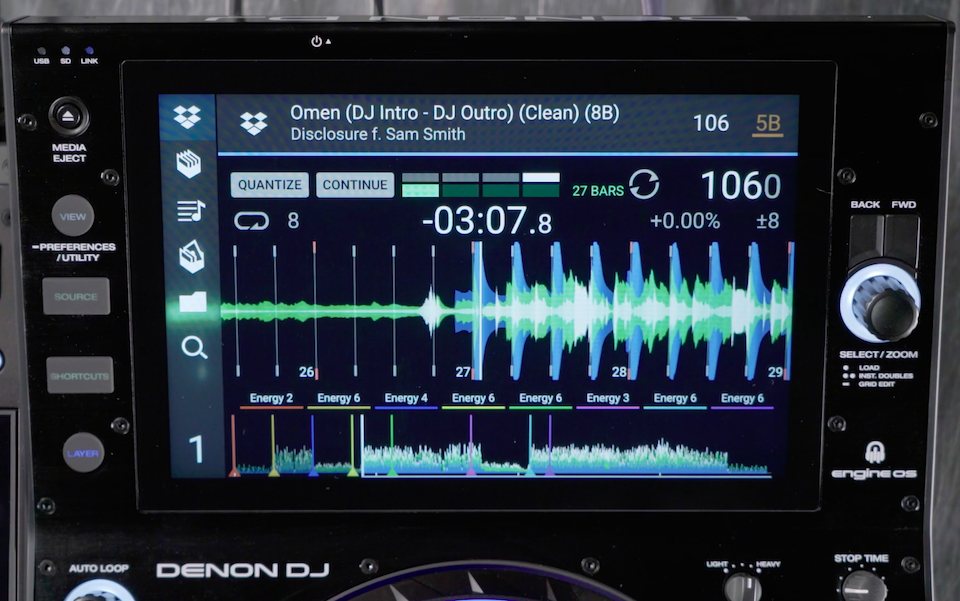 Screenshot showing Dropbox / Denon DJ integration