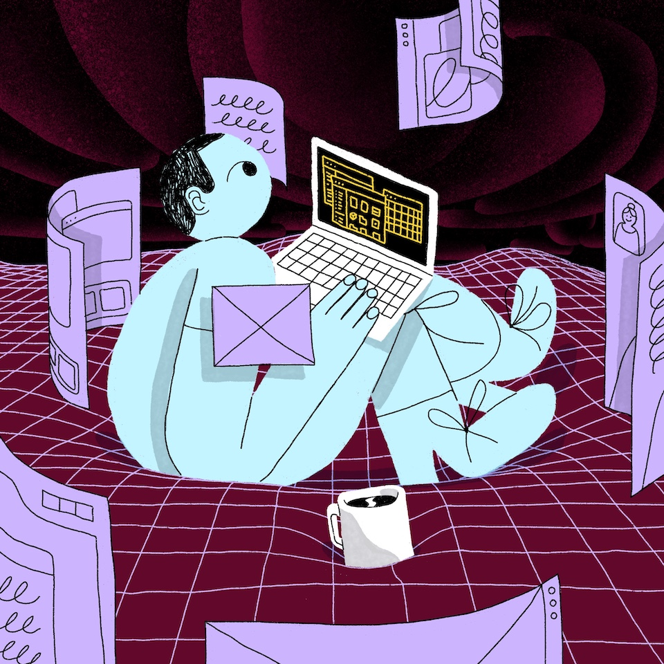 Illustration of person working in curved space