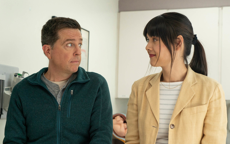 Photo of Ed Helms and Patti Harrison in a scene from the film Together, Together