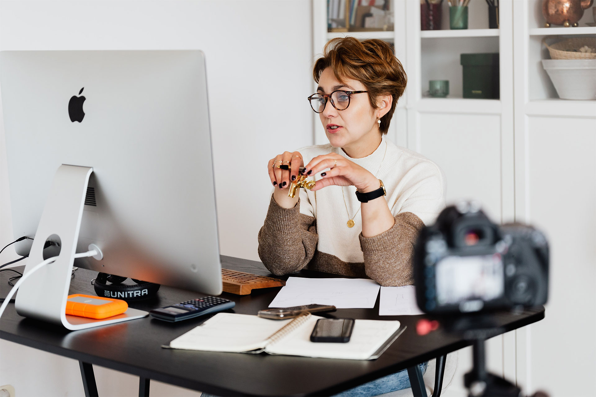 A person on a video conference call