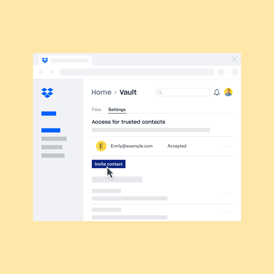 A trusted contact is invited to access important personal files on Dropbox Vault