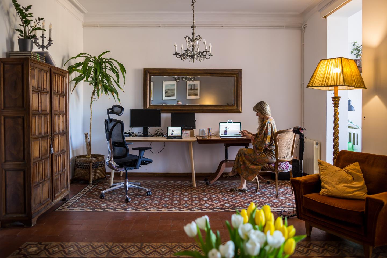 Angela Hartwick working from Barcelona hotel