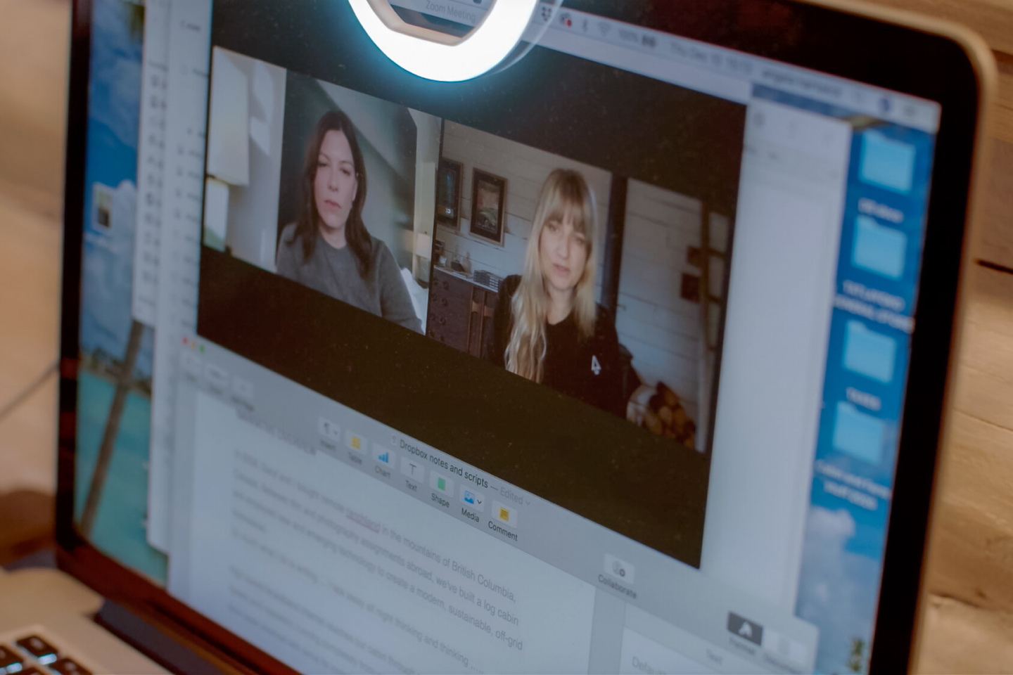 A video conference with clients