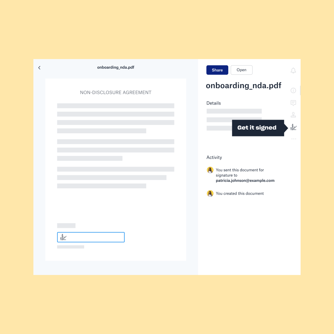 An onboarding pdf is shared with Dropbox and an e-signature is requested with HelloSign