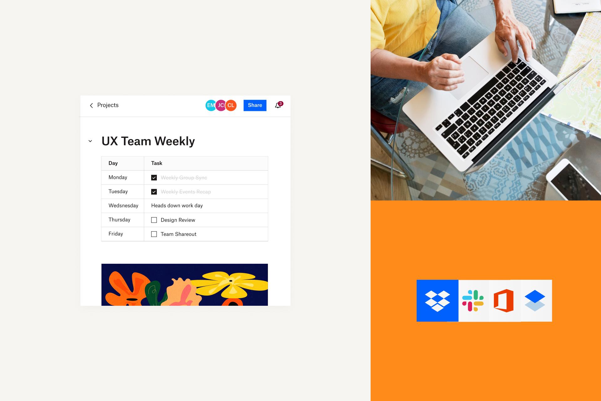 一个通过 Dropbox 共享的项目,其中包含设计审批的活动时间线