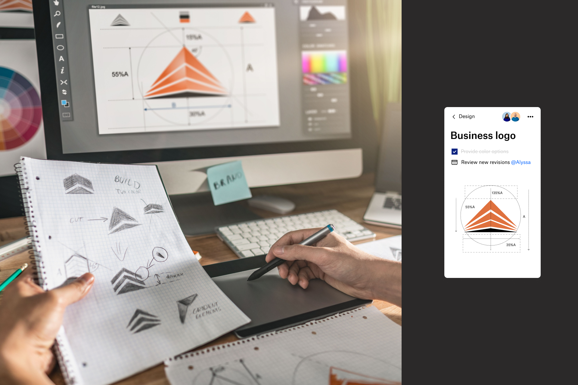 A person designing a business logo using Dropbox
