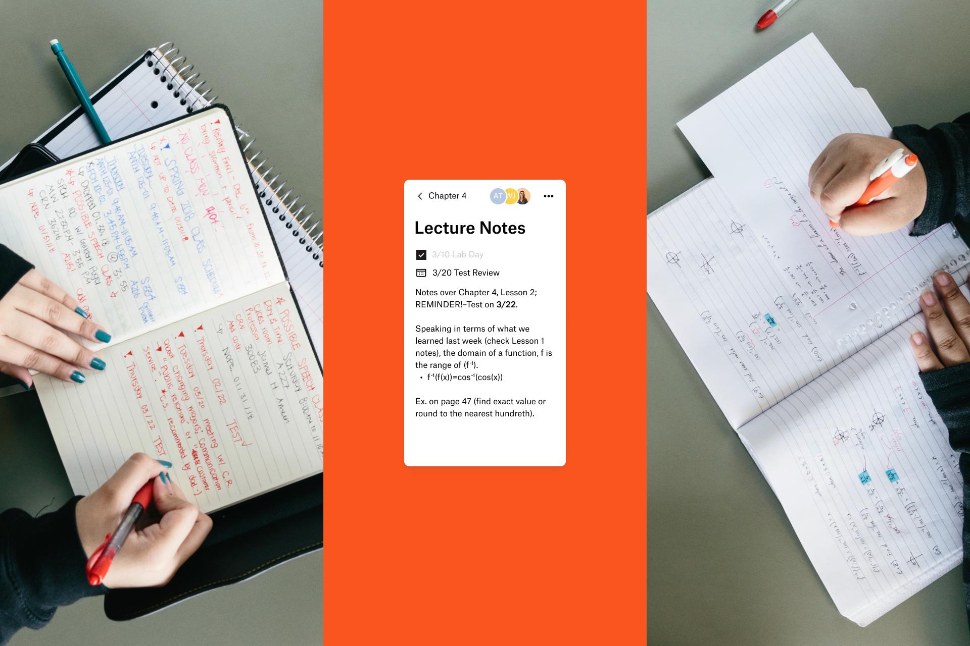 Educators sharing lecture notes via Dropbox Paper