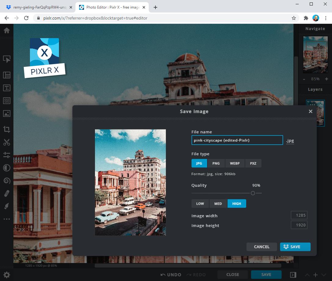 Pixlr X インターフェースのスクリーンショット