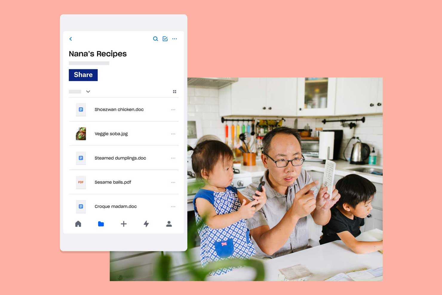 Father with two children looking at folder of Nana's Recipes in Dropbox